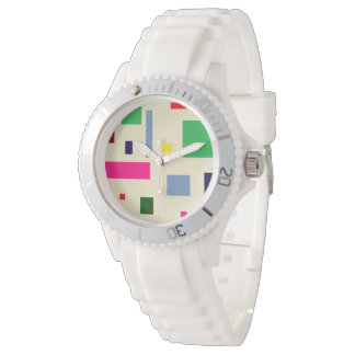 colored squares Custom Sporty White Silicon watch
