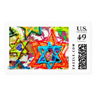 Colored Star of David Postage