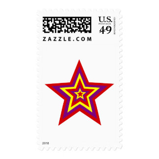 Colored Star Postage Stamp