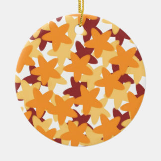 Colored Stars Double-Sided Ceramic Round Christmas Ornament
