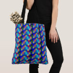 Colored stock market, square shaped scale of tote bag