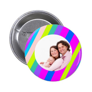 Colored Stripes 2 Inch Round Button