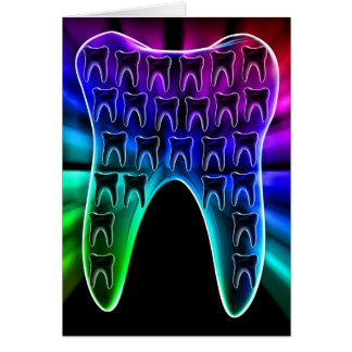 Colored Tooth Dental Art Greeting Card