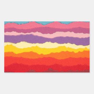 Colored torn paper strip borders. rectangular sticker