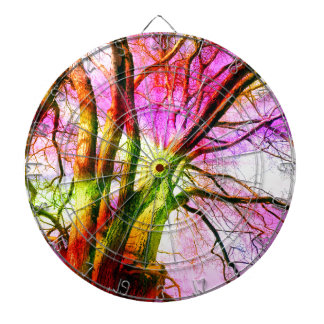 colored tree dartboard with darts