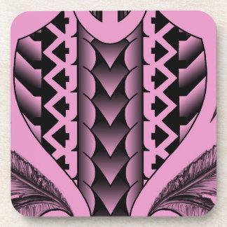 colored tribal maori tatau design with feathers beverage coaster