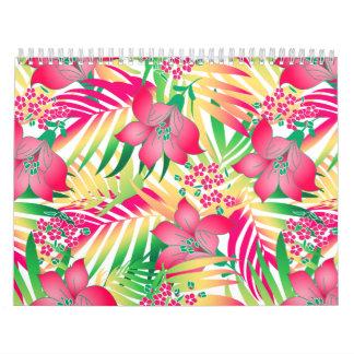 Colored tropical flowers calendar