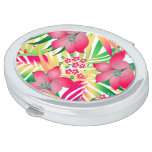 Colored tropical flowers compact mirror