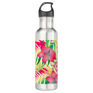 Colored tropical flowers water bottle