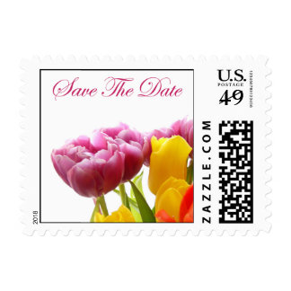 Colored Tulips - Save The Date Postage Stamp