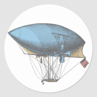 Colored Vintage Airship Classic Round Sticker