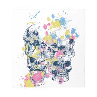 colored vintage skulls notepad