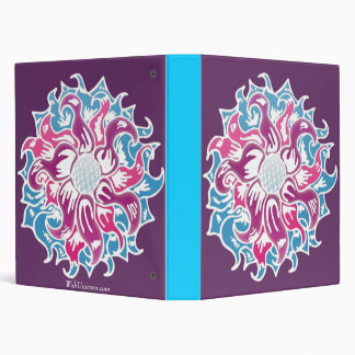 colored white flower 3 ring binder