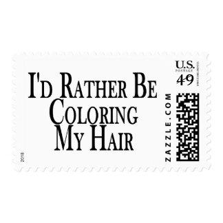 Coloree bastante mi pelo sello postal