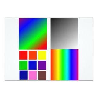"""Coloree diversos cuadrados y tales de las muestras invitación 5"""" x 7"""""""