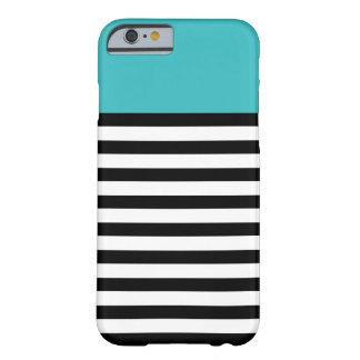 Coloree el iPhone blanco de la raya del negro de Funda Para iPhone 6 Barely There