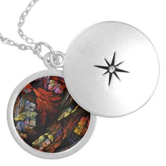 Coloree el Locket de plata abstracto de la armonía Collar Redondo