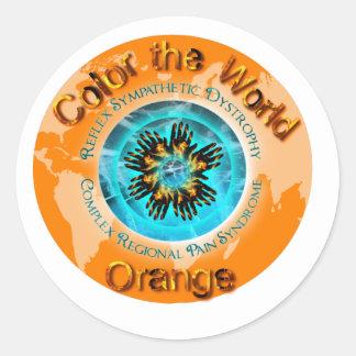Coloree el naranja del mundo - hielo dual pegatina redonda