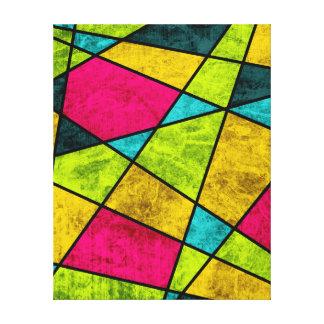 Coloree el neón geométrico abstracto de cristal lona envuelta para galerias