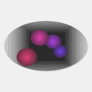 Coloree las esferas del infinito de la ilusión pegatina ovalada