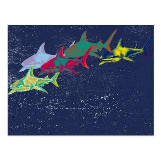 coloree los tiburones animal-temáticos postal