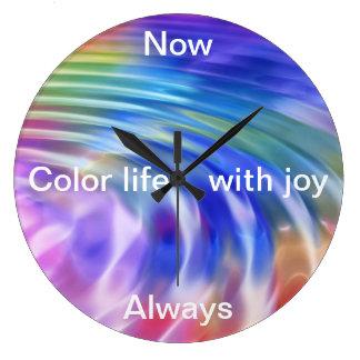 Coloree mi vida con alegría reloj redondo grande