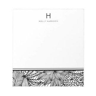 Coloree su propio monograma blanco y negro el | libreta para notas