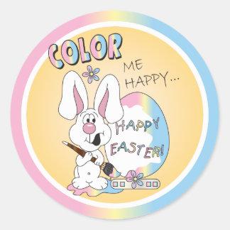 Coloréeme conejo de conejito feliz pegatina redonda