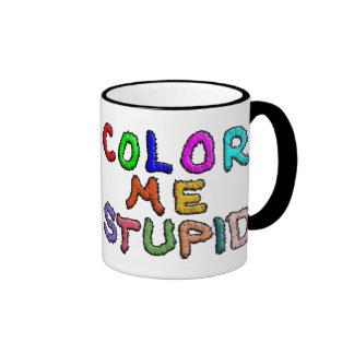 Coloréeme estúpido taza de dos colores