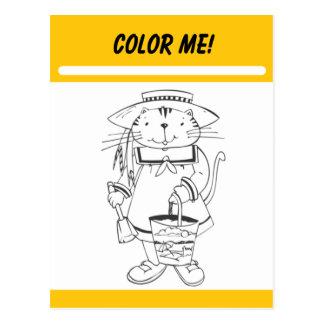 Coloréeme tarjeta de la actividad postal