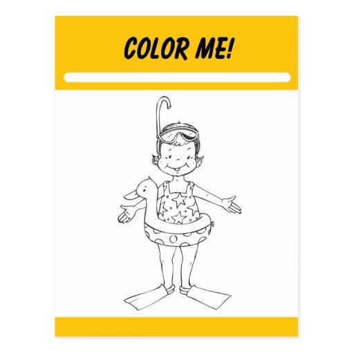 Coloréeme tarjeta de la actividad postales