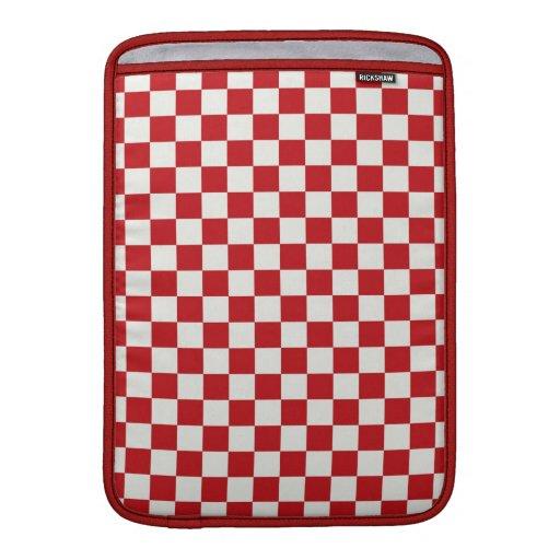 Colores a cuadros rojos y blancos del Bbq del país Fundas Para Macbook Air