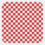 Colores a cuadros rojos y blancos del Bbq del país Calcomanias Cuadradas