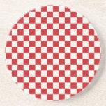Colores a cuadros rojos y blancos del Bbq del país Posavasos Manualidades