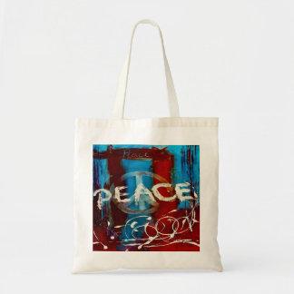 Colores abstractos azul, rojo y blanco de la paz bolsa tela barata