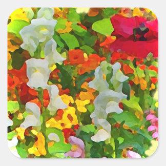 Colores alegres del jardín pegatina cuadrada