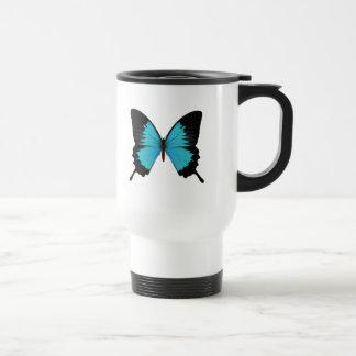 Colores azules y negros brillantes de la original taza térmica