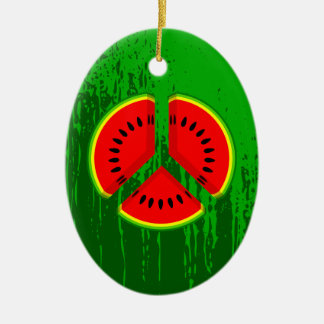 Colores brillantes de la paz de la sandía de la adorno navideño ovalado de cerámica