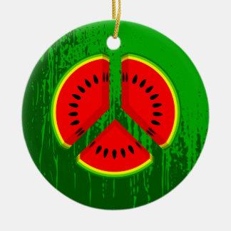 Colores brillantes de la paz de la sandía de la adorno navideño redondo de cerámica