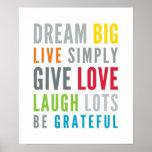 Colores brillantes de la tipografía fresca positiv póster