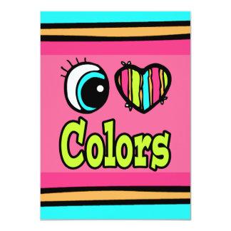 """Colores brillantes del amor del corazón I del ojo Invitación 4.5"""" X 6.25"""""""