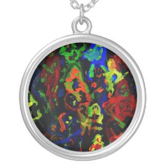 Colores brillantes del collage abstracto del colgante redondo