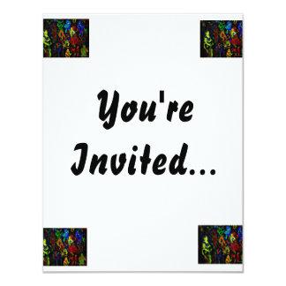"""Colores brillantes del collage abstracto del invitación 4.25"""" x 5.5"""""""