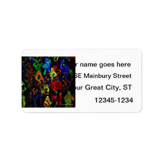 Colores brillantes del collage abstracto del músic etiqueta de dirección