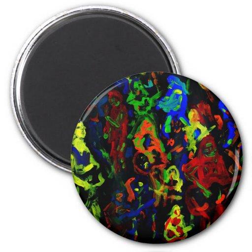 Colores brillantes del collage abstracto del músic imán redondo 5 cm