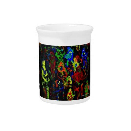 Colores brillantes del collage abstracto del músic jarra para bebida