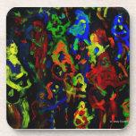 Colores brillantes del collage abstracto del músic posavasos de bebida