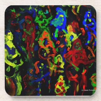 Colores brillantes del collage abstracto del músic posavasos de bebidas