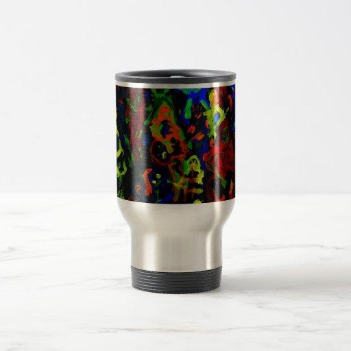 Colores brillantes del collage abstracto del músic taza de viaje de acero inoxidable