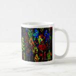 Colores brillantes del collage abstracto del músic tazas de café